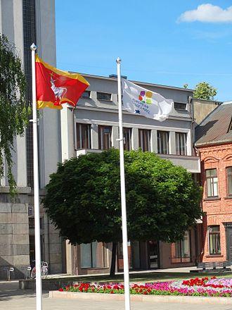 European Heritage Label - Flag of the European Heritage Label in Kaunas, Lithuania