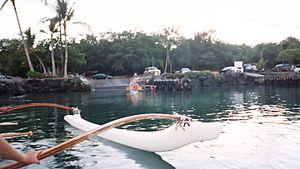 Kawaihae, Hawaii - Loading outrigger canoes at the Kawaihae Canoe Club