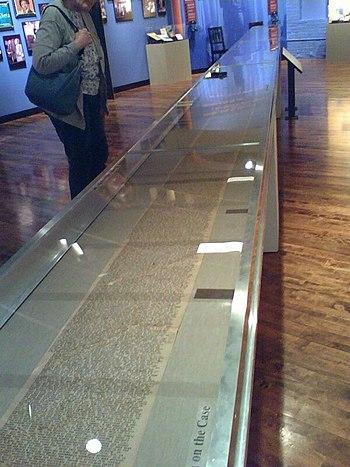 The original manuscript (a 120-foot scroll) of...