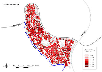 Kibera - The population density in the Kianda village in western Kibera