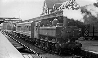 Kidderminster railway station - Image: Kidderminster station, with auto train to Bewdley geograph 2571495 by Ben Brooksbank