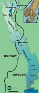 Lage des Flusses in Schweden und Norwegen