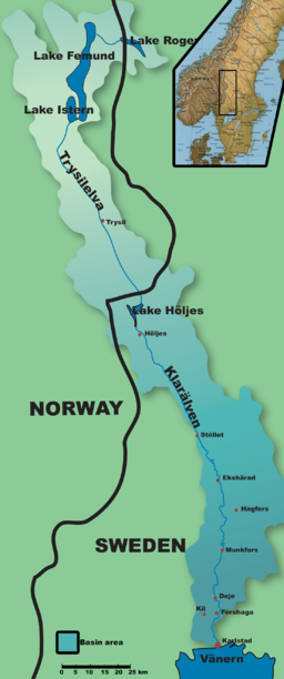 Klarelvens beliggenhed i Norge og Sverige.   Også avvattningsområdet ses.