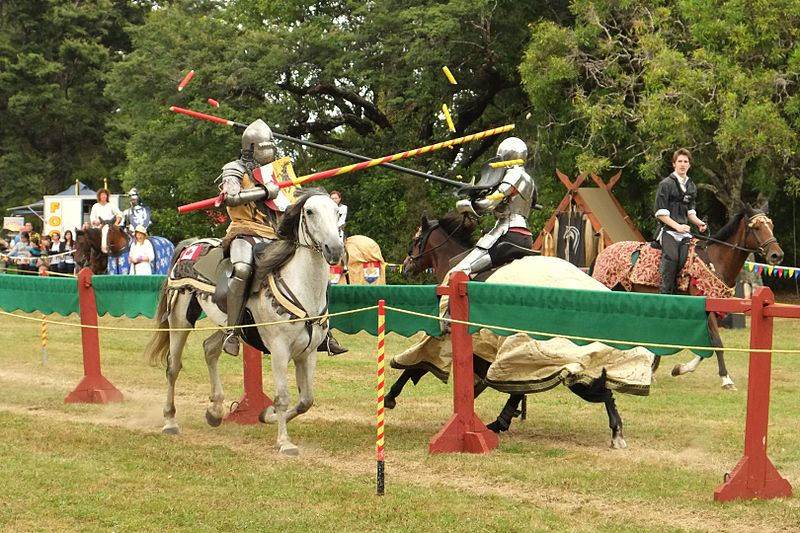 File:Knights jousting, lance tips broken on shields.jpg