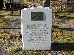 Image of a marker on the Henry Knox Trail