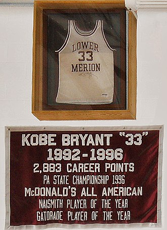 Kobe Bryant - Bryant's retired No.33 jersey and banner at the Lower Merion High School gym.