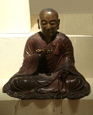 Kūkai - Wood statue of Kūkai.