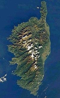 Fotografía de satélite de Córcega de la NASA