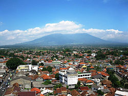 View over the city to the Gunung Salak