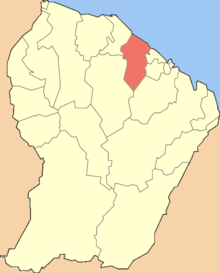 Location of the commune (in red) in French Guiana