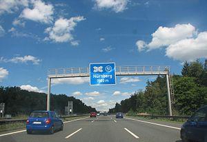Die A 9 Richtung Berlin am Kreuz Nürnberg