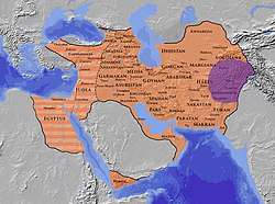 Sasanian Empire (orange), and the Kushano-Sasanian realm (violet), centered on Kushanshahr, the province at the eastern edge of the Sasanian Empire. There are four main areas where Kushano-Sasanian coins were minted (Kabul, Balkh, Herat, and Merv), although it seems Merv and Herat remained Sasanian.[1][2]