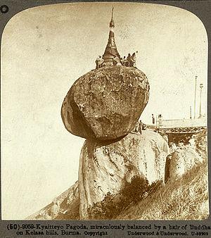 Kyaiktiyo Pagoda - Image: Kyaitteyo Pagoda, miraculously balanced by a hair of Buddha, on Kelasa hills, Burma