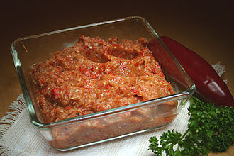 Relish - Kyopolou (Кьопоолу), a relish from the Balkans made from red bell peppers, eggplant and garlic