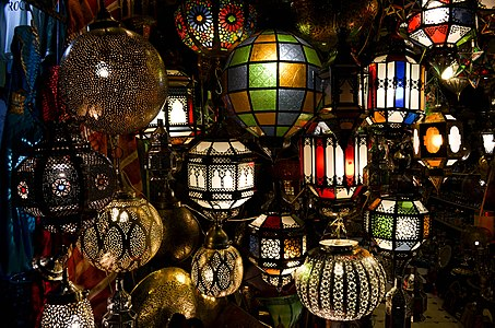 Lamps shop at Djemaa el Fna, Marrakesh