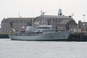 Haulbowline - LÉ Aisling (P23) alongside the former Victualling Storehouses of 1807-24