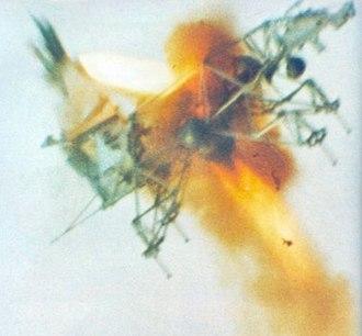 Lunar Landing Research Vehicle - Test pilot Stuart Present ejects safely from crashing LLTV (NASA), 29 January 1971.
