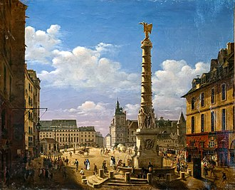 Paris under Napoleon - Place du Chatelet and the new Fontaine du Palmier, by Etienne Bouhot (1810)