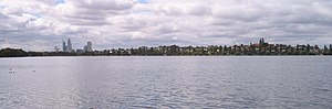 Lake Monger - Looking south across the lake towards the city of Perth
