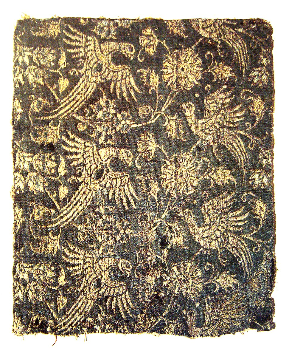 Lampas textile silk and gold Italy second half of 14th century
