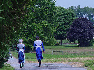 Two Amish girls in traditional attire, Lancast...