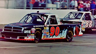 NASCAR Gander Outdoors Truck Series - The trucks of Lance Norick (No. 90) and Terry Cook (No. 88) racing in 1998