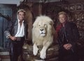 Las Vegas, Nevada's headlining illusionists Siegfried & Roy (Siegried Fischbacher and Roy Horn) in their private apartment at the Mirage Hotel on the Vegas Strip, along with one of their LCCN2011634019.tif