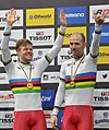 Lasse Norman Hansen and Michael Mørkøv (2) (2020-03-01) - UCI Track World Championships 2020.jpg