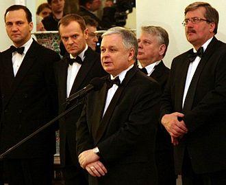 Radosław Sikorski - Radosław Sikorski, Donald Tusk, Lech Kaczyński and Bronisław Komorowski in 2008