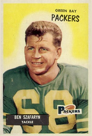Len Szafaryn - Szafaryn on a 1955 Bowman football card