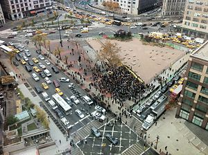 Duarte Square - Protestors in Duarte massing at the boundary of LentSpace on the right