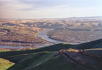 Snake River - The Clearwater River (left) joins the Snake River (center) at Lewiston