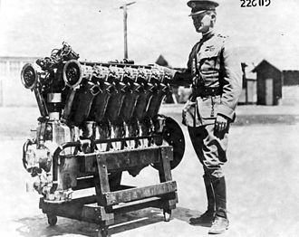 "Liberty L-12 - Major Henry H. ""Hap"" Arnold with the first Liberty V12 engine completed"
