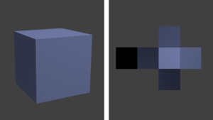 Lightmap - Cube with a simple lightmap (shown on the right).