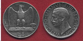 """Italian Somaliland lira - The """"Italian Somaliland Lira"""" was a special version of the Italian """"5 Lire coin"""" of 1927 (shown above), with the same image of king Vittorio Em. III"""