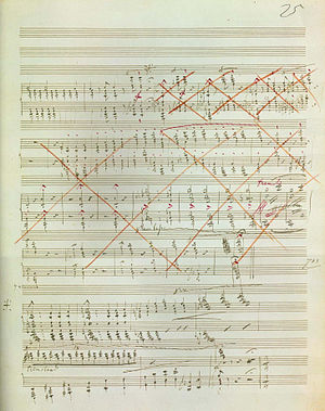 Sonata in B minor (Liszt) - Page 25 of the manuscript. The large section crossed out in red contains the original loud ending.