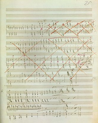 Piano Sonata in B minor (Liszt) - Page 25 of the manuscript. The large section crossed out in red contains the original loud ending.