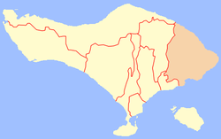 Location of Karangasem Regency in Bali