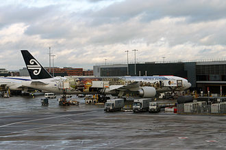 "Middle-earth - An Air New Zealand Boeing 777-300ER with ""The Airline of Middle-earth"" livery to promote the film The Hobbit: An Unexpected Journey, at London Heathrow Airport."