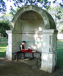 This pedestrian alcove is a surviving fragment of the old London Bridge, demolished in 1831. Two have resided in Victoria Park since 1860 (August 2005)
