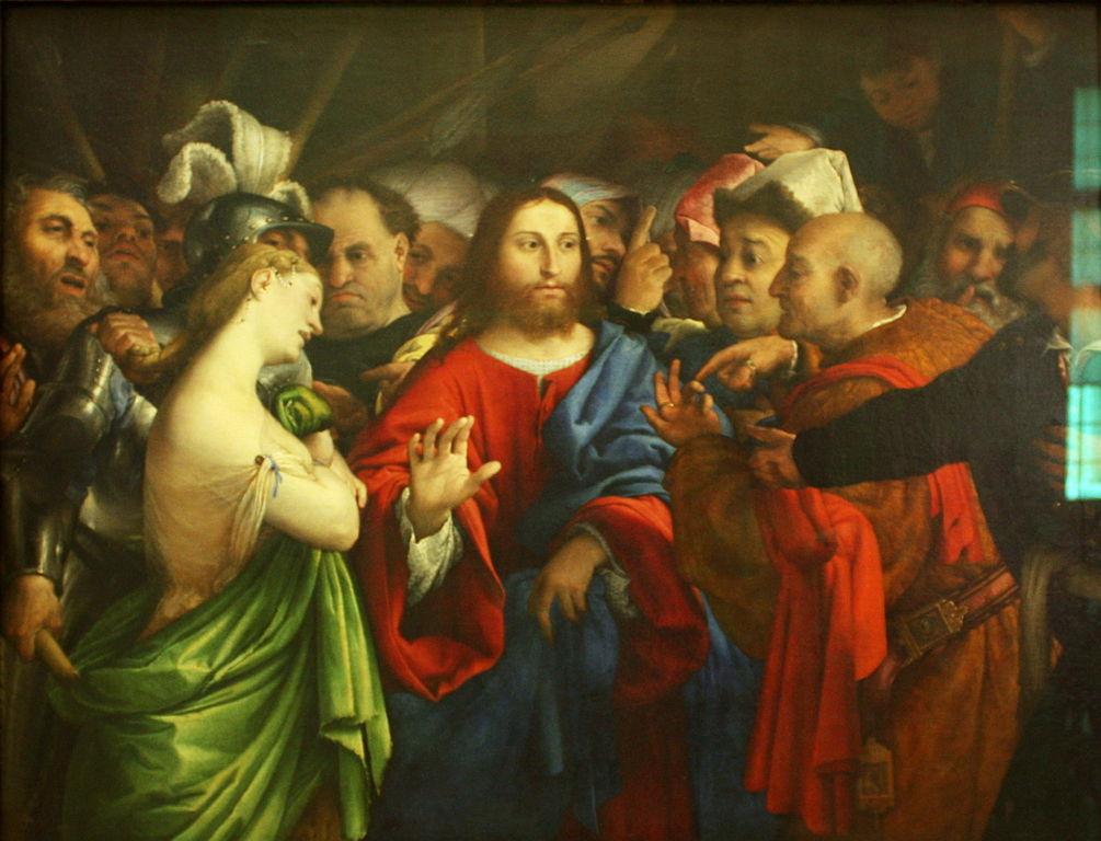 간통한 여인과 예수님, 로렌조 로토