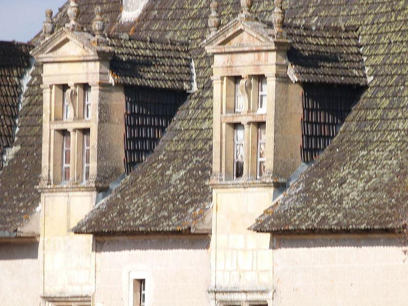 Lucarnes vues de face et pans de toiture du château de Couanac (façade sud)