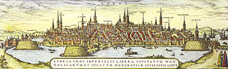 Wakenitz - Historical sight of the Wakenitz and Lübeck by Georg Braun and Franz Hogenberg (between 1572 and 1618)