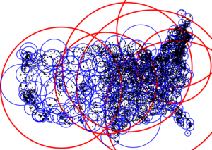 M-tree - 2D M-Tree visualized using ELKI. Due to the axis scales, the spheres appear ellipsoidal. Every blue sphere (leaf) is contained in a red sphere (directory nodes). Leaves overlap, but not too much.