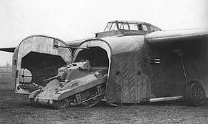General Aircraft Hamilcar - M22 Locust light tank leaving a Hamilcar glider. The deflated shock absorbers lowered the fuselage to the ground and allowed vehicles to exit without the use of ramps