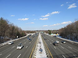 MA Route 128 northbound from the Minuteman Bikeway, Lexington MA.jpg