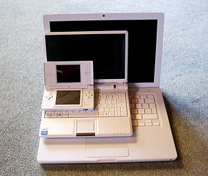 Subnotebook - Sizes (smallest to largest): Nintendo DS Lite (handheld), Asus Eee PC (netbook) and MacBook (laptop).