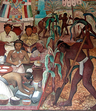Mexican art - Detail of a mural by Diego Rivera at the National Palace.