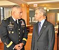 Maj. Gen. John Campbell, commanding general of the 101st Airborne and Chicago Mayor Rahm Emanuel celebrate the Army's 236th birthday at the Pritzker Military Library DVIDS416649.jpg