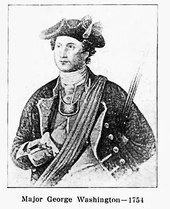 A Young Washington in military uniform and hat, with right hand inserted in front of shirt in traditional pose